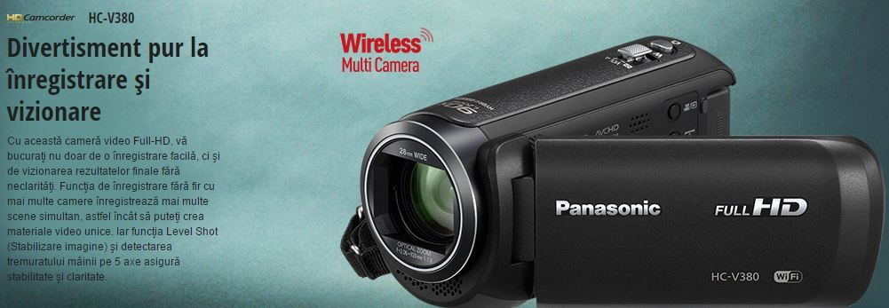 Camera video Panasonic HC-V380EP-K, Full HD, Wi-Fi – preturi si teste